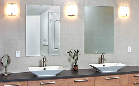 Frameless rectangle polished flat edge mirror