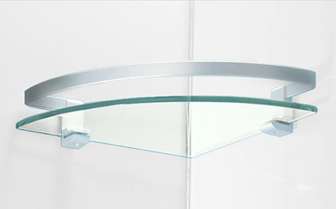 Fan-shaped 5mm clear tempered glass for bathroom corner rack