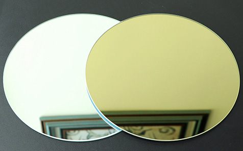 Customized shape yellow grey bronze mirror with safety edge