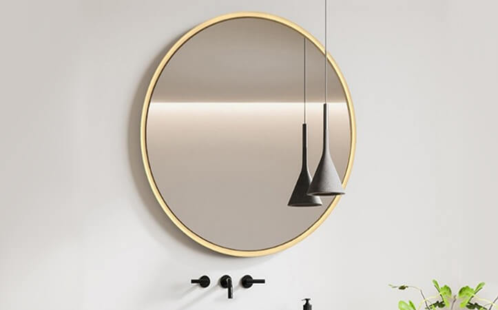 Decorative aluminum round frame silver mirror for bathroom