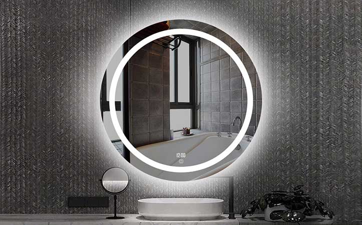 4mm 5mm led anti-fog vanity round shaped  bathroom mirror
