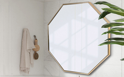 Decorative gold octagon aluminum frame mirror for living room