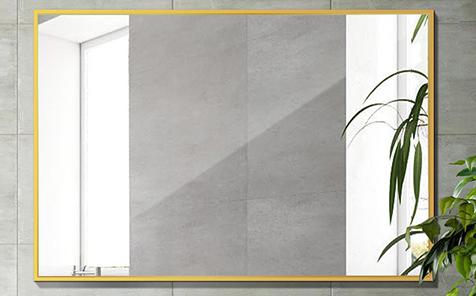Decorative golden rectangle aluminum frame silver mirror for bathroom