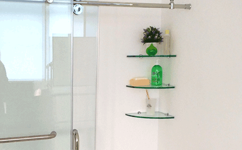 Fan-shaped edge grinding tempered glass bathroom shelf