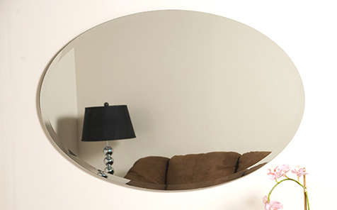 Oval edge grinding silver mirror for hotel bathroom