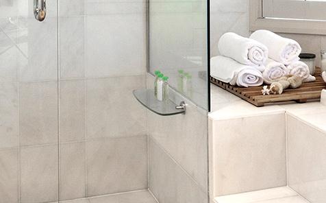 Rectangular tempered glass bathroom corner frame