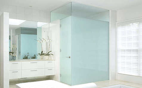 Privacy protection frameless tempered frosted glass for bathroom door