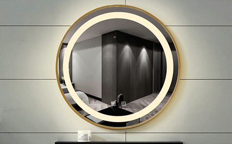 Led anti-fog round shaped mirror for bathroom
