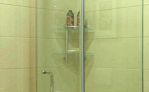 Triangle Polished edge tempered glass bathroom shelf