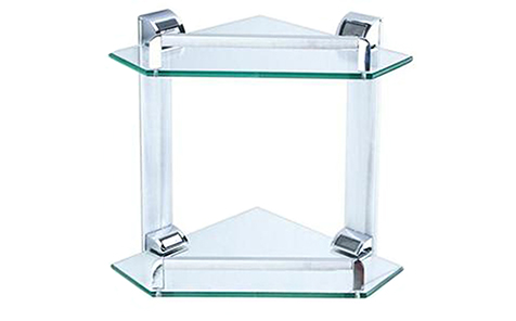 Triangle Polished edge tempered glass bathroom shelf