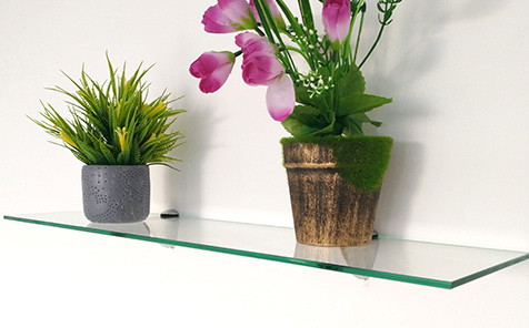 Rectangular polished edge tempered glass bathroom shelf