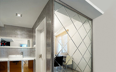 5mm silvery engraved mirror for home wall decorative