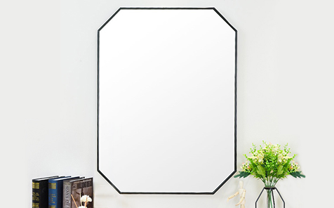 Decorative black octagon aluminum frame silver mirror for bathroom