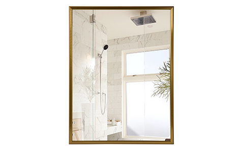 Decorative golden rectangle aluminum frame silver mirror for bathroom