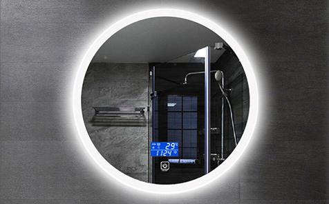 Led anti-fog touch switch round shaped  bathroom mirror