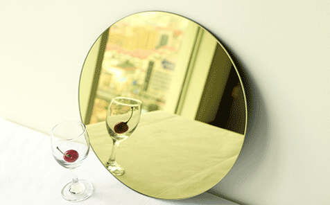 Customized size round yellow mirror for living room decorate