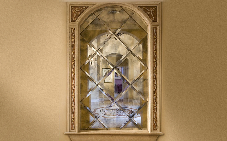 Rectangular grey colored Antique mirror for sitting room decoration