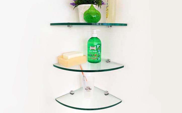 Fan-shaped edge grinding clear tempered glass bathroom shelf