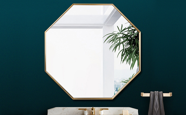Decorative gold octagon aluminum frame mirror for living room