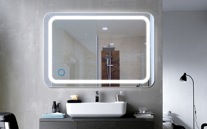 Rectangular anti-fog led mirror for shower room