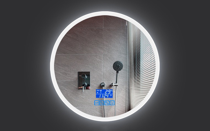 Led anti-fog touch switch round shaped  bathroom mirror