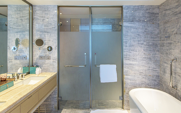 Custom size tempered frosted glass bathroom door