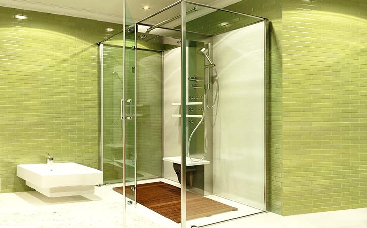 Transparent band frame toughened glass door for bathroom
