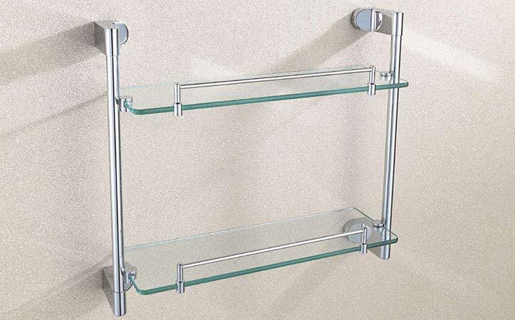 Rectangular polished edge tempered glass bathroom shelf
