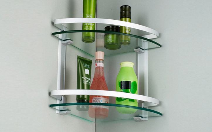 Fan-shaped edge grinding tempered glass bathroom shelf