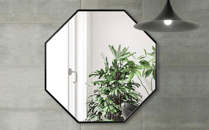Decorative black octagon aluminum frame silver mirror for bathroom