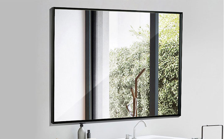 Decorative aluminum rectangle black frame silver mirror for bathroom