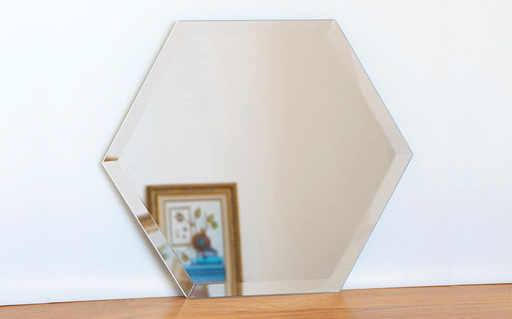 Frameless sexangle bevel edge silver mirror for bathroom