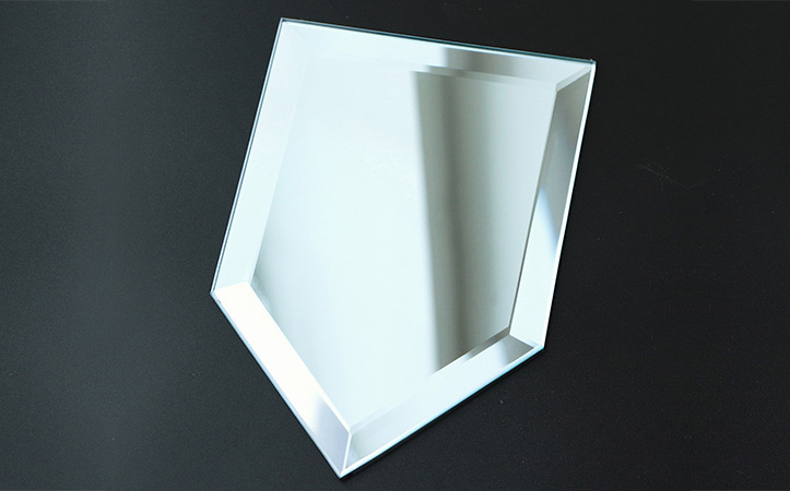 Frameless pentagon bevel edge silver mirror for living room