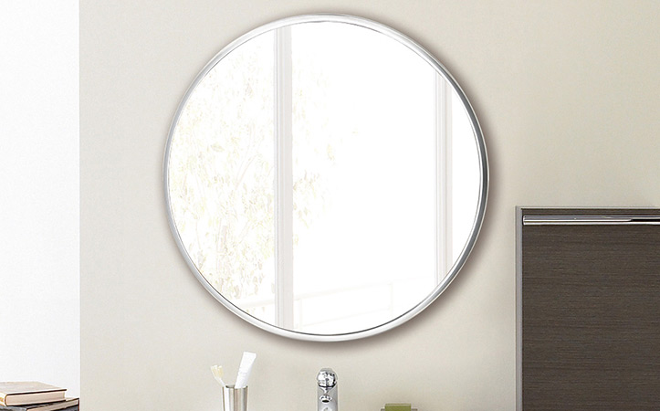 Decorative silver-colored round aluminum frame mirror for bathroom