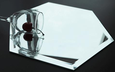 Frameless sexangle bevel edge silver mirror for bathroom