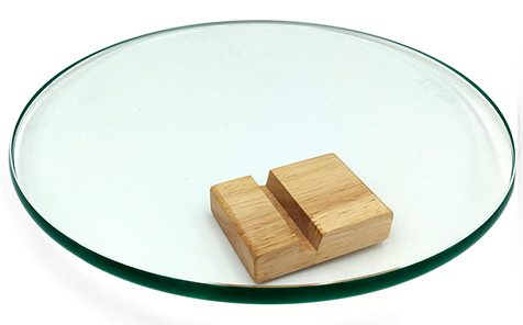Custom sized round tempered table top