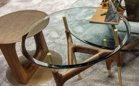Round bevelled tempered glass table top