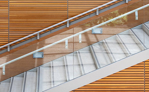 Clear edge grinding tempered glass for stairs handrail