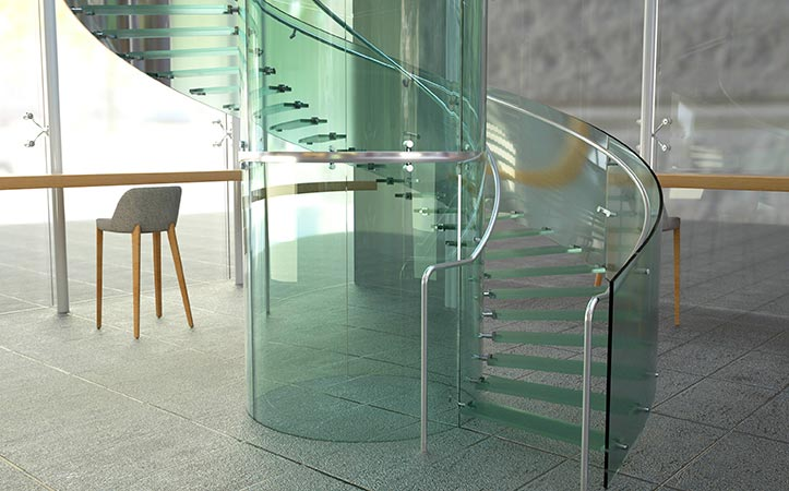 Frameless tempered curved glass for stair handrail