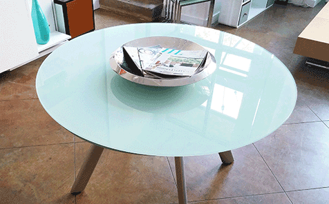 Round tempered frosted silk screen printing glass for table top