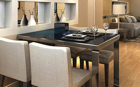 Rectangular black tempered glass for table top