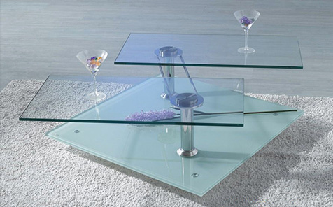 Rectangular polished edge tempered table top