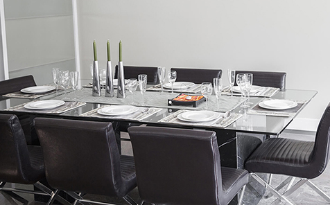 Rectangular R10 tempered galss table top
