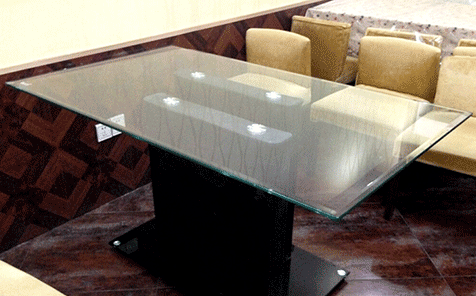Rectangular bevel edge clear tempered tabletop glass