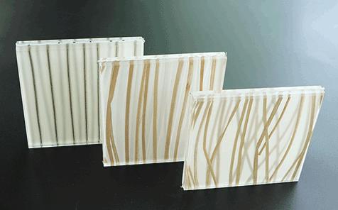 Custom size yellow grass decorative laminated glass