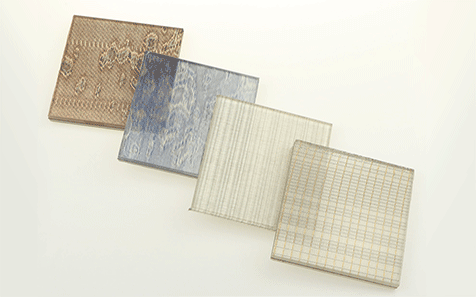 Brown wired metal laminated glass decoration