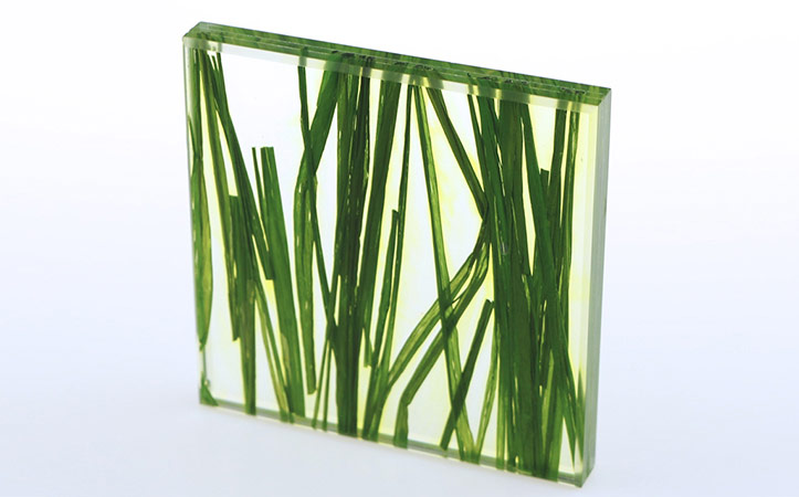 Custom size green grass decorative art laminated glass