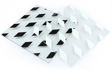 Tempered silk screen printing white diamond pattern glass
