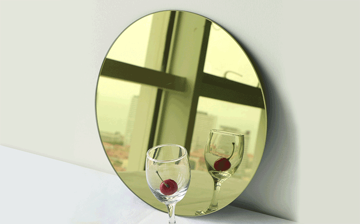Colour round edging shatterproof mirror