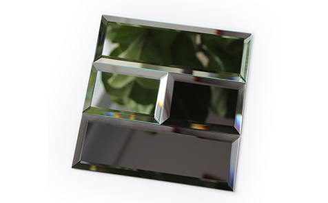 Beveled mirror collage wall for livingroom